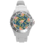 Floral Fantsy Pattern Round Plastic Sport Watch (L) Front