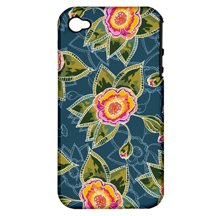 Floral Fantsy Pattern Apple iPhone 4/4S Hardshell Case (PC+Silicone)