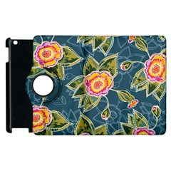 Floral Fantsy Pattern Apple iPad 2 Flip 360 Case