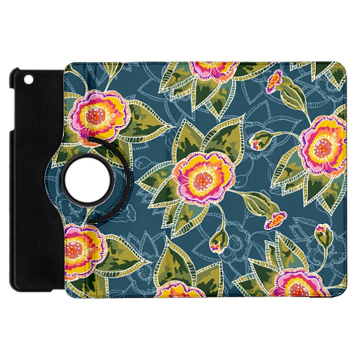 Floral Fantsy Pattern Apple iPad Mini Flip 360 Case