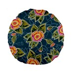 Floral Fantsy Pattern Standard 15  Premium Round Cushions Back