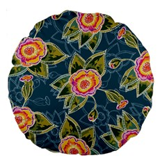 Floral Fantsy Pattern Large 18  Premium Round Cushions