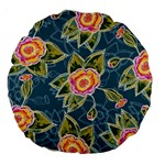 Floral Fantsy Pattern Large 18  Premium Round Cushions Back