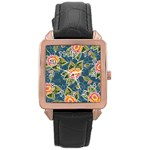 Floral Fantsy Pattern Rose Gold Leather Watch  Front
