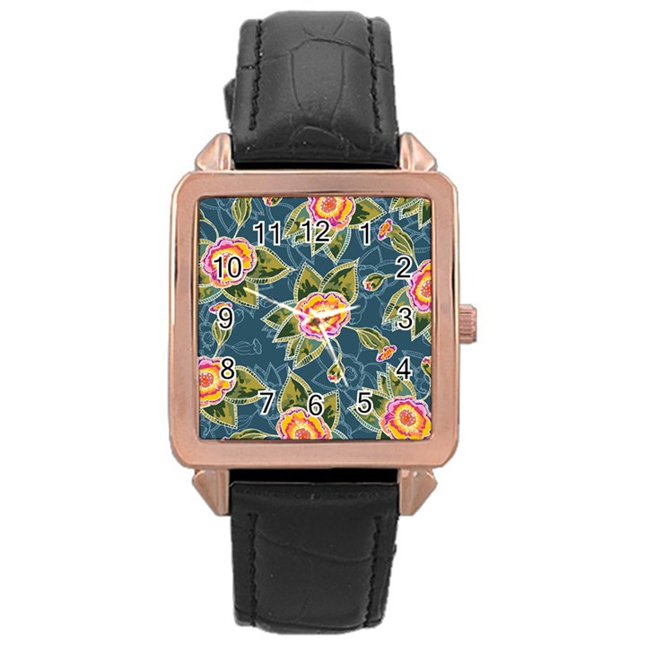 Floral Fantsy Pattern Rose Gold Leather Watch