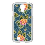 Floral Fantsy Pattern Samsung GALAXY S4 I9500/ I9505 Case (White) Front