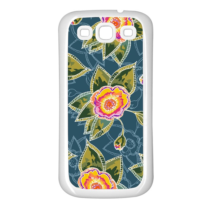 Floral Fantsy Pattern Samsung Galaxy S3 Back Case (White)