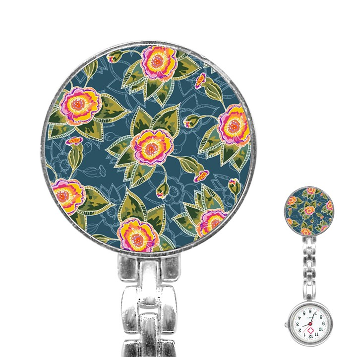 Floral Fantsy Pattern Stainless Steel Nurses Watch