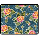 Floral Fantsy Pattern Double Sided Fleece Blanket (Medium)  60 x50 Blanket Front