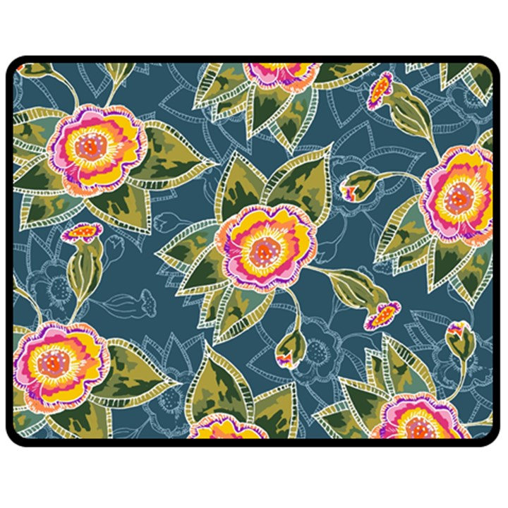 Floral Fantsy Pattern Double Sided Fleece Blanket (Medium)