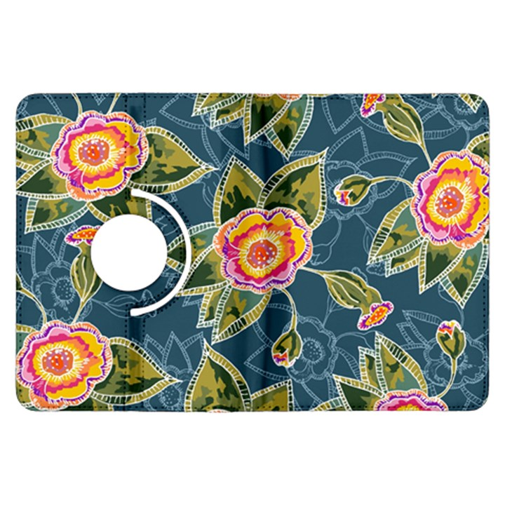 Floral Fantsy Pattern Kindle Fire HDX Flip 360 Case
