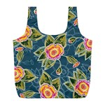 Floral Fantsy Pattern Full Print Recycle Bags (L)  Back