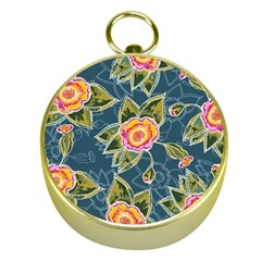 Floral Fantsy Pattern Gold Compasses