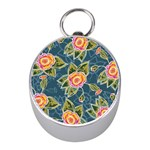 Floral Fantsy Pattern Mini Silver Compasses Front