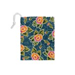 Floral Fantsy Pattern Drawstring Pouches (Small)  Back