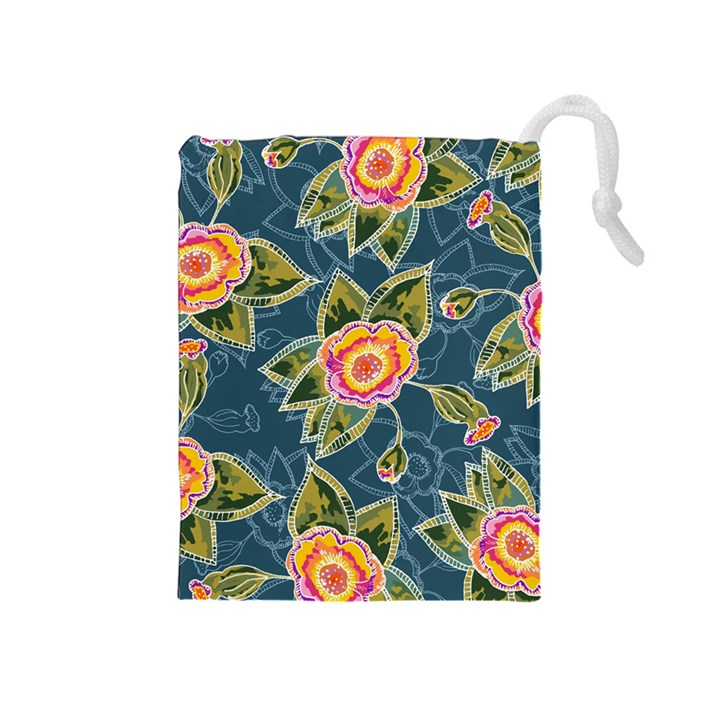 Floral Fantsy Pattern Drawstring Pouches (Medium)
