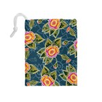Floral Fantsy Pattern Drawstring Pouches (Medium)  Back