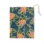 Floral Fantsy Pattern Drawstring Pouches (Large)  Front
