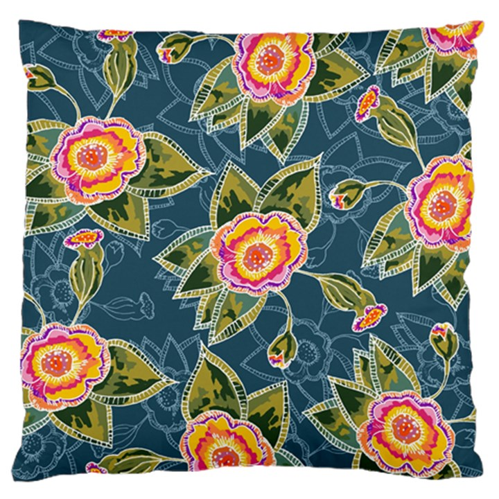 Floral Fantsy Pattern Large Flano Cushion Case (One Side)