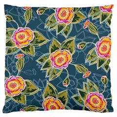 Floral Fantsy Pattern Large Flano Cushion Case (two Sides)