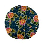 Floral Fantsy Pattern Standard 15  Premium Flano Round Cushions Back