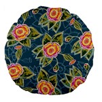 Floral Fantsy Pattern Large 18  Premium Flano Round Cushions Back