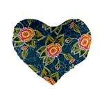 Floral Fantsy Pattern Standard 16  Premium Flano Heart Shape Cushions Front