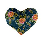 Floral Fantsy Pattern Standard 16  Premium Flano Heart Shape Cushions Back