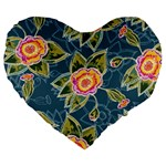 Floral Fantsy Pattern Large 19  Premium Flano Heart Shape Cushions Front