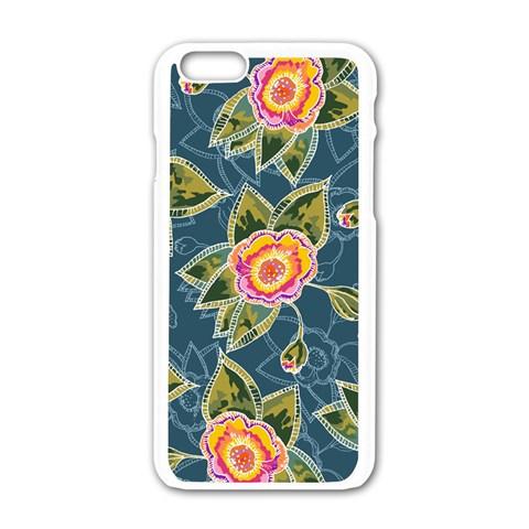Floral Fantsy Pattern Apple iPhone 6/6S White Enamel Case