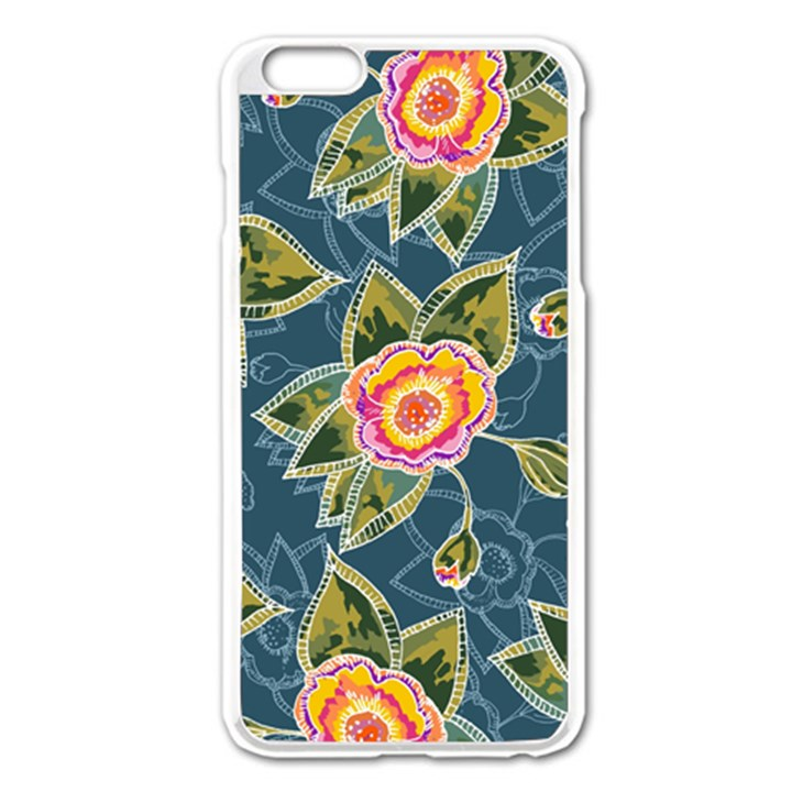 Floral Fantsy Pattern Apple iPhone 6 Plus/6S Plus Enamel White Case