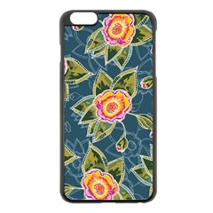 Floral Fantsy Pattern Apple iPhone 6 Plus/6S Plus Black Enamel Case