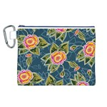 Floral Fantsy Pattern Canvas Cosmetic Bag (L) Front