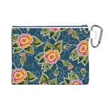 Floral Fantsy Pattern Canvas Cosmetic Bag (L) Back