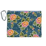 Floral Fantsy Pattern Canvas Cosmetic Bag (XL) Front
