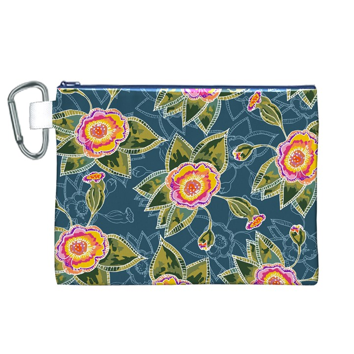 Floral Fantsy Pattern Canvas Cosmetic Bag (XL)