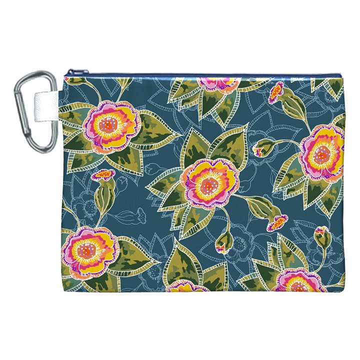 Floral Fantsy Pattern Canvas Cosmetic Bag (XXL)