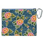 Floral Fantsy Pattern Canvas Cosmetic Bag (XXL) Back