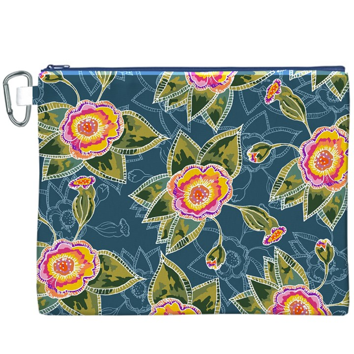 Floral Fantsy Pattern Canvas Cosmetic Bag (XXXL)