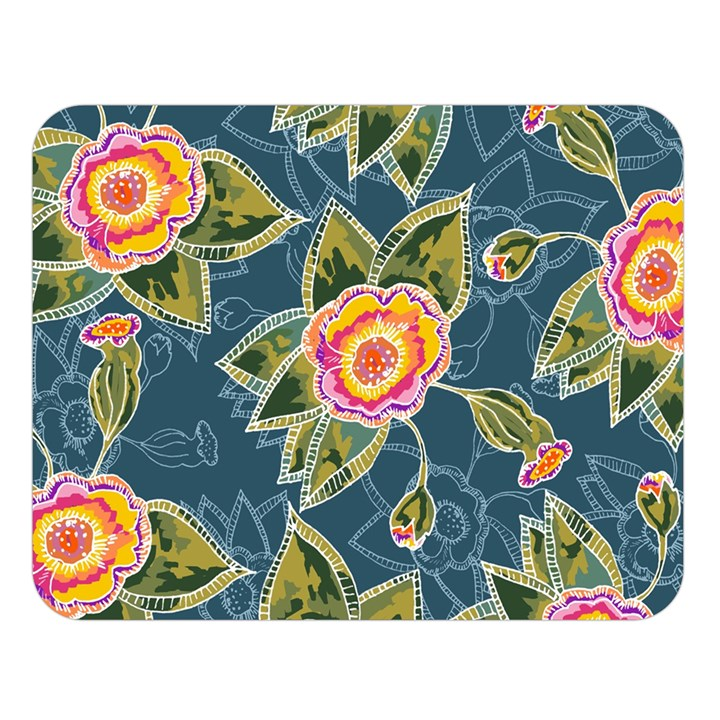 Floral Fantsy Pattern Double Sided Flano Blanket (Large)