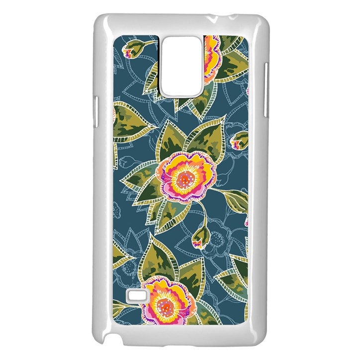 Floral Fantsy Pattern Samsung Galaxy Note 4 Case (White)