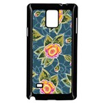 Floral Fantsy Pattern Samsung Galaxy Note 4 Case (Black) Front