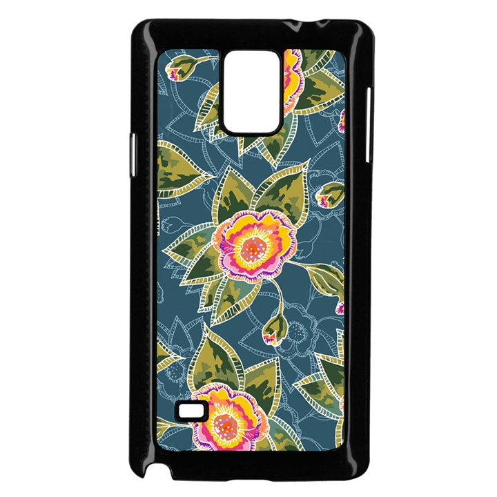 Floral Fantsy Pattern Samsung Galaxy Note 4 Case (Black)