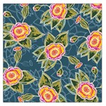Floral Fantsy Pattern Large Satin Scarf (Square) Front