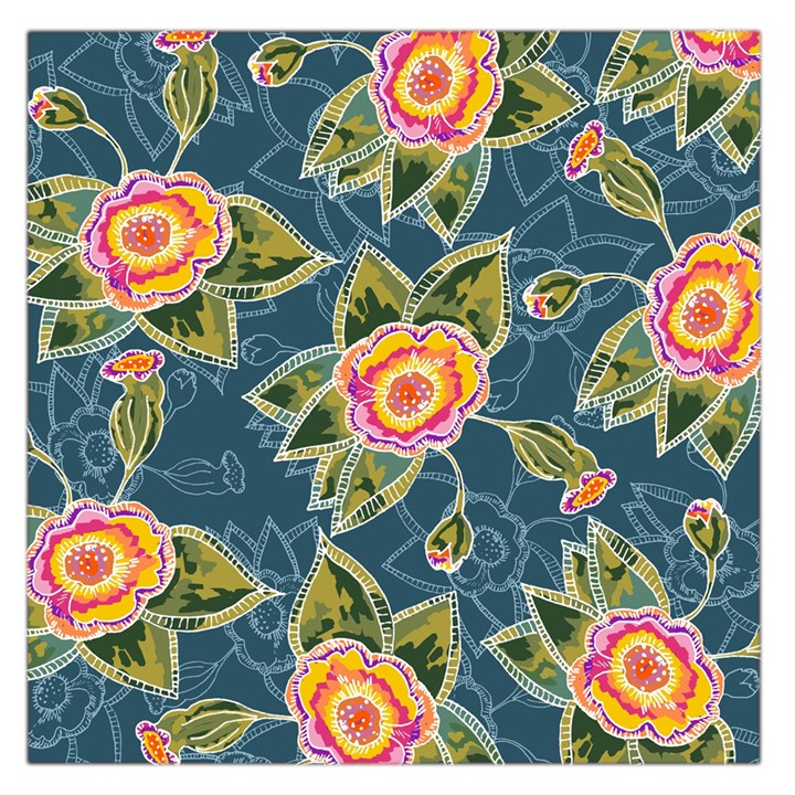 Floral Fantsy Pattern Large Satin Scarf (Square)