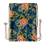 Floral Fantsy Pattern Drawstring Bag (Large) Front