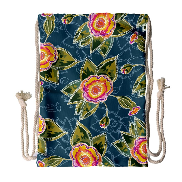 Floral Fantsy Pattern Drawstring Bag (Large)