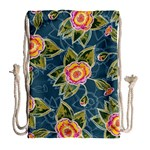 Floral Fantsy Pattern Drawstring Bag (Large) Back