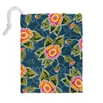 Floral Fantsy Pattern Drawstring Pouches (Extra Large) Back