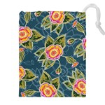 Floral Fantsy Pattern Drawstring Pouches (XXL) Front